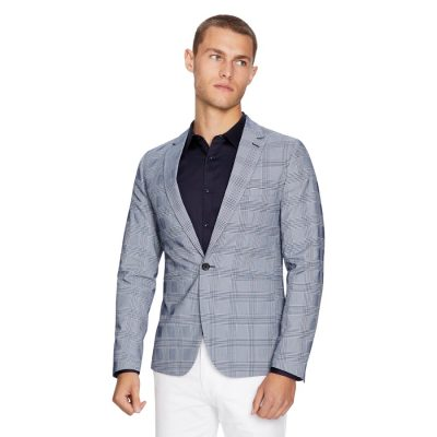 Fashion 4 Men - yd. Mercury Check Blazer Blue 2 Xs