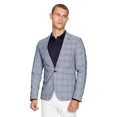 Fashion 4 Men - yd. Mercury Check Blazer Blue M