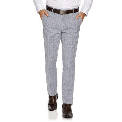 Fashion 4 Men - yd. Milano Check Skinny Dress Pant Navy 40