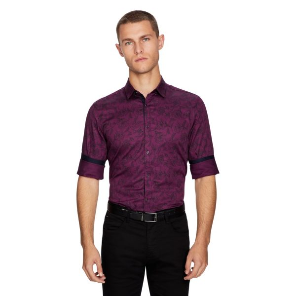 Fashion 4 Men - yd. Pino Floral Slim Fit Shirt Burgundy M