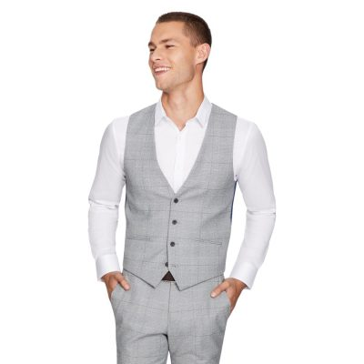 Fashion 4 Men - yd. Winston Check Waistcoat Grey Xxxl