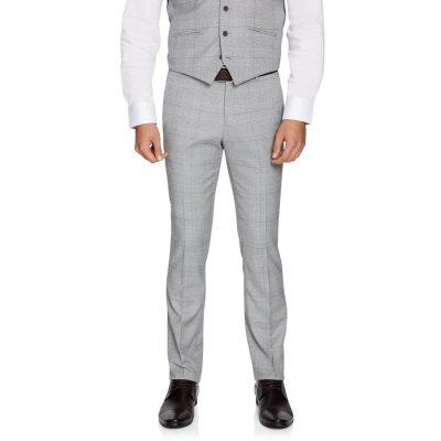 Fashion 4 Men - yd. Winston Skinny Check Pant Grey 33