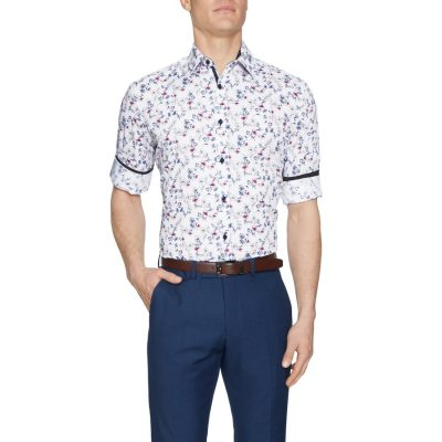 Fashion 4 Men - Tarocash Blane Floral Print Shirt White S