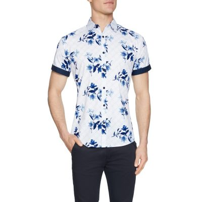Fashion 4 Men - Tarocash Clovelly Stretch Floral Shirt White L