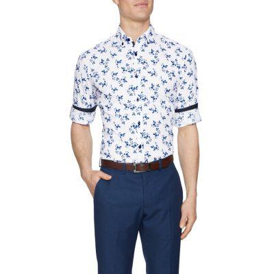 Fashion 4 Men - Tarocash Dante Stretch Print Shirt White Xs