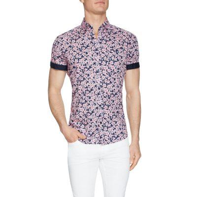 Fashion 4 Men - Tarocash Hula Floral Print Shirt Pink Xl