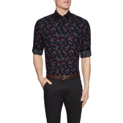 Fashion 4 Men - Tarocash Inferno Floral Print Shirt Black Xxl