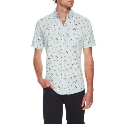Fashion 4 Men - Tarocash Kokomo Palm Print Shirt Aqua 5 Xl