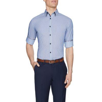 Fashion 4 Men - Tarocash Lance Stretch Stripe Shirt White Xxl