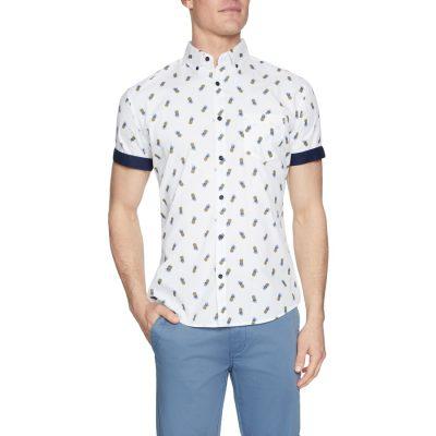 Fashion 4 Men - Tarocash Mini Pineapple Print Shirt White L