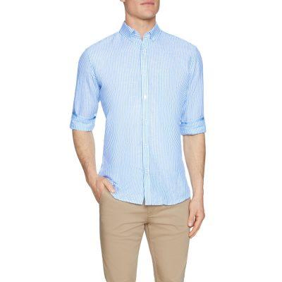 Fashion 4 Men - Tarocash Oscar Linen Blend Stripe Shirt Sky 4 Xl