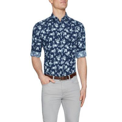 Fashion 4 Men - Tarocash Pincay Floral Print Shirt Navy Xxxl