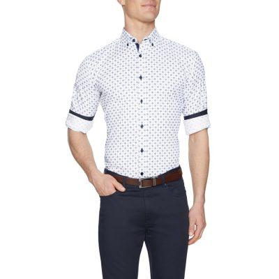 Fashion 4 Men - Tarocash Powers Textured Geo Print Shirt White L