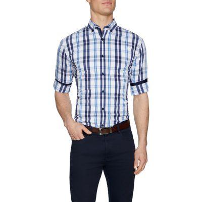 Fashion 4 Men - Tarocash Rayner Slim Stretch Check Shirt Navy M
