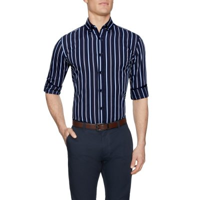 Fashion 4 Men - Tarocash Robert Stripe Shirt Navy Xl