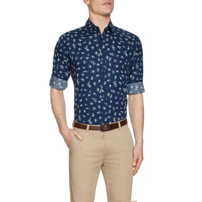 Fashion 4 Men - Tarocash Rocco Floral Print Shirt Navy Xl