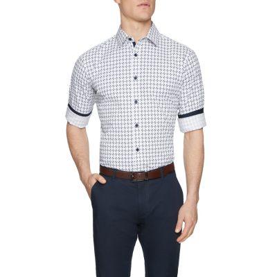 Fashion 4 Men - Tarocash Theo Stretch Geo Print Shirt White M
