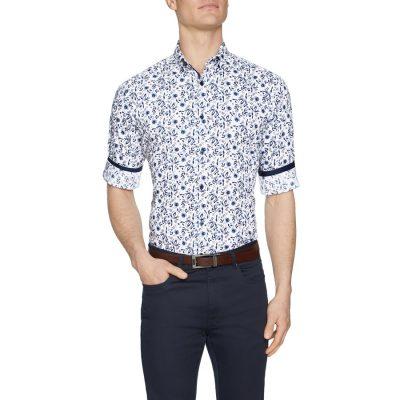 Fashion 4 Men - Tarocash Zephyr Floral Print Shirt White Xs