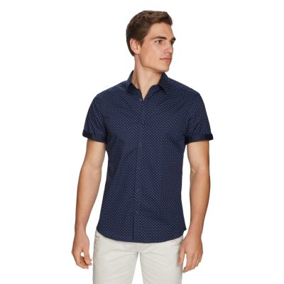 Fashion 4 Men - yd. Calvin Slim Shirt Navy 2 Xs