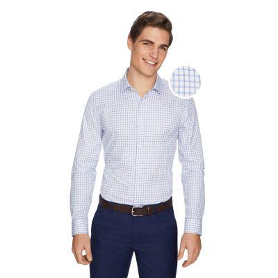 Fashion 4 Men - yd. Charles Check Slim Dress Shirt Blue L