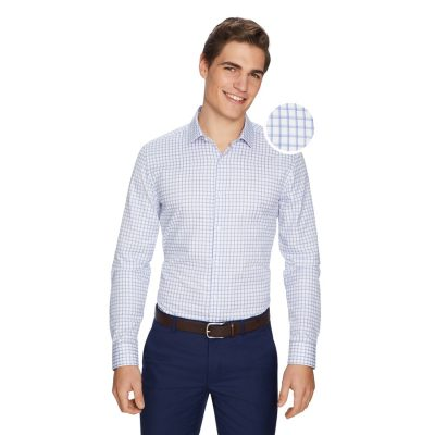 Fashion 4 Men - yd. Charles Check Slim Dress Shirt Blue Xxxl