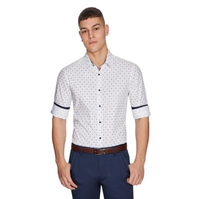 Fashion 4 Men - yd. Diamond Dot Slim Shirt White S