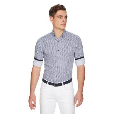 Fashion 4 Men - yd. Diamond Geo Slim Shirt Dark Blue Print Xs