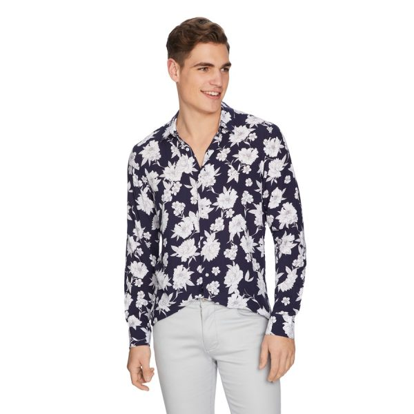 Fashion 4 Men - yd. Floral Viscose Shirt Dark Blue M