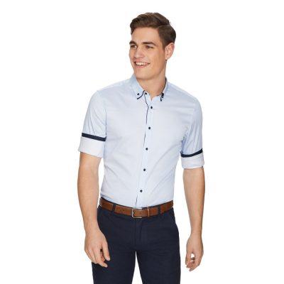 Fashion 4 Men - yd. Matrix Slim Shirt Blue Print S