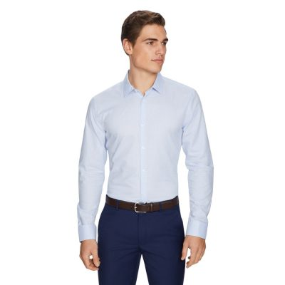 Fashion 4 Men - yd. Micro Check Dress Shirt Blue Xxl