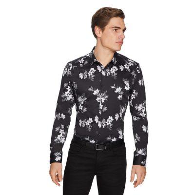 Fashion 4 Men - yd. Nero Floral Slim Shirt Black Print 2 Xs