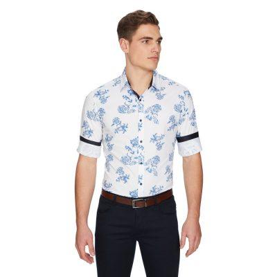 Fashion 4 Men - yd. Parker Paisley Slim Shirt White 2 Xs
