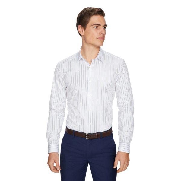 Fashion 4 Men - yd. Portland Stripe Slim Dress Shirt White S