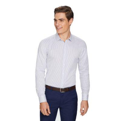 Fashion 4 Men - yd. Seth Stripe Slim Dress Shirt White L