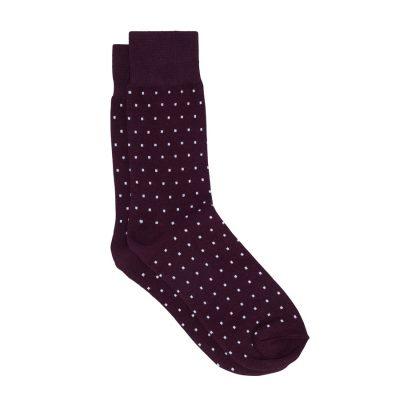 Fashion 4 Men - yd. Sharp Spot Socks Burgundy One