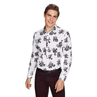 Fashion 4 Men - yd. Tulum Floral Slim Shirt White 2 Xs
