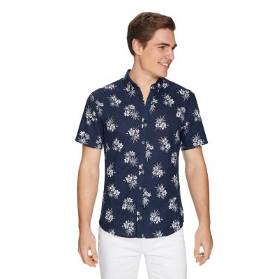 Fashion 4 Men - yd. Zander Linen Shirt Navy S