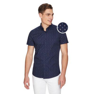 Fashion 4 Men - yd. Ahoy Anchor Shirt Navy M