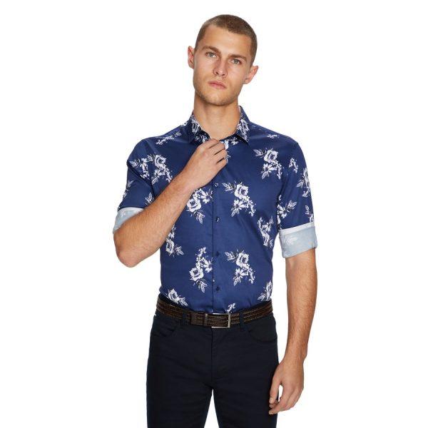 Fashion 4 Men - yd. Baracoa Floral Slim Shirt Dark Blue Xxxl