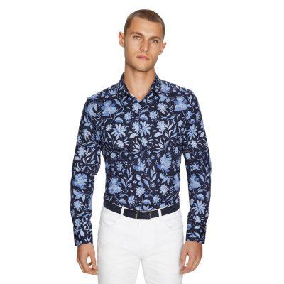 Fashion 4 Men - yd. Batik Floral Slim Shirt Dark Blue M