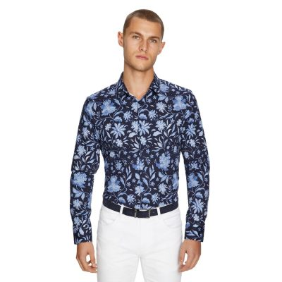 Fashion 4 Men - yd. Batik Floral Slim Shirt Dark Blue S