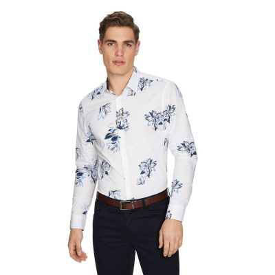 Fashion 4 Men - yd. Bellagio Floral Slim Shirt White M
