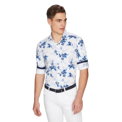 Fashion 4 Men - yd. Cancun Floral Slim Shirt White 2 Xs