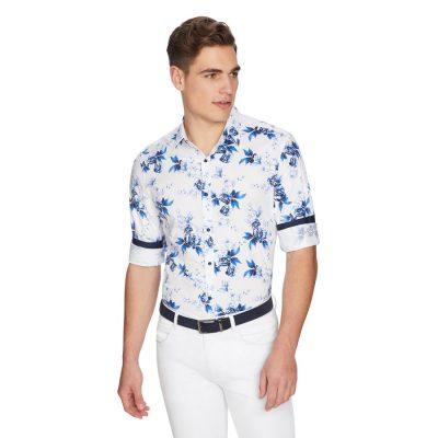 Fashion 4 Men - yd. Cancun Floral Slim Shirt White S