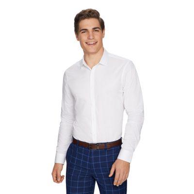 Fashion 4 Men - yd. Cleveland Textured Slim Dress Shirt White L