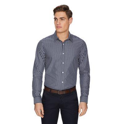 Fashion 4 Men - yd. Coby Stripe Shirt Dark Blue 2 Xs