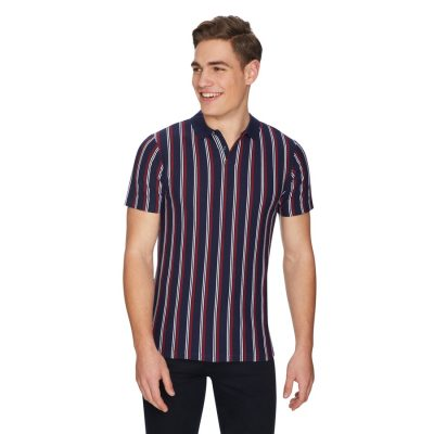 Fashion 4 Men - yd. Crunch Stripe Polo Navy M