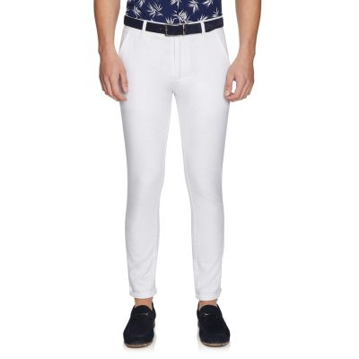Fashion 4 Men - yd. Euro Linen Slim Chino White 34