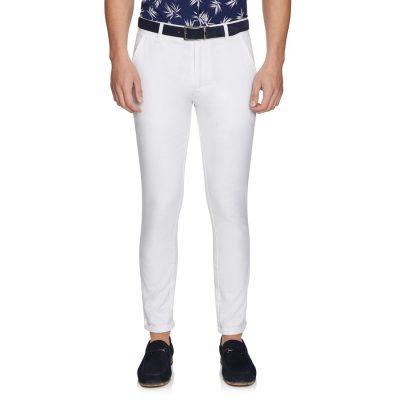 Fashion 4 Men - yd. Euro Linen Slim Chino White 36