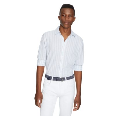 Fashion 4 Men - yd. Holiday Stripe Linen Shirt Light Blue Xl